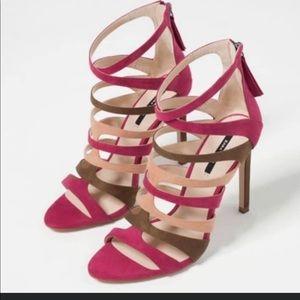 Zara 👠 Strappy Heels Raspberry & Olive Green